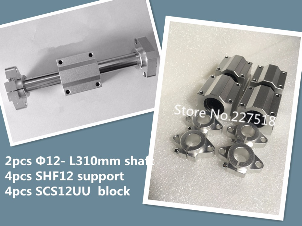 все цены на  2pcs 12mm -L310mm linear round shaft +4pcs SHF12 shaft support+4pcs SCS12UU block  онлайн