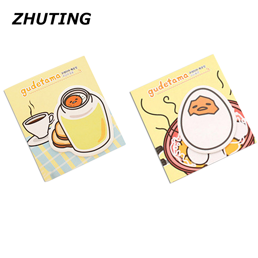 2pcs Lazy Egg Self-Adhesive Memo Pad Sticky Notes Post It Bookmark School Office prepared and notes Stickers