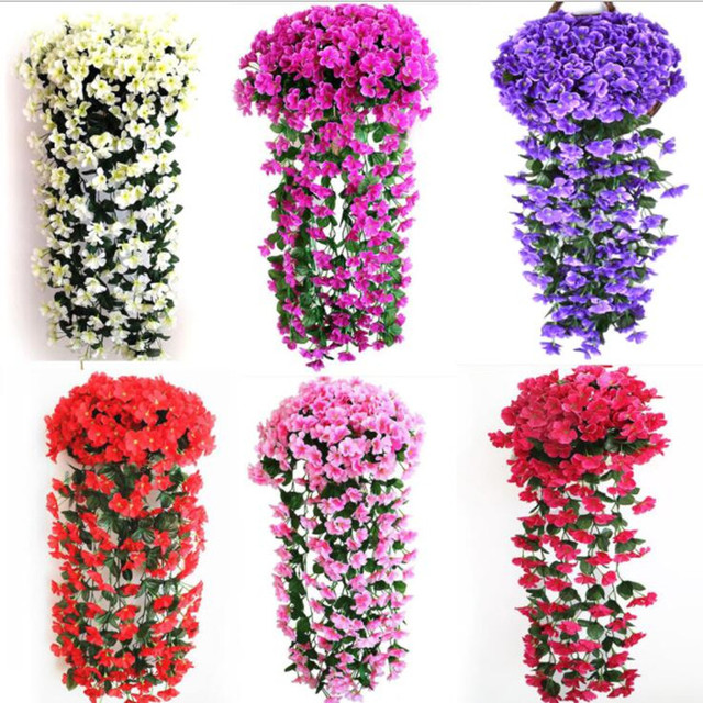 2pcs Violets Wall Hanging Flower Vine With One Wall Vase Artificial