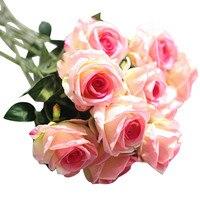 5 pcs de alta qualidade de flanela Cabeça Látex Toque Subiu Buquê de Flores Para A Festa de casamento Home Design Decor hot venda por atacado M30