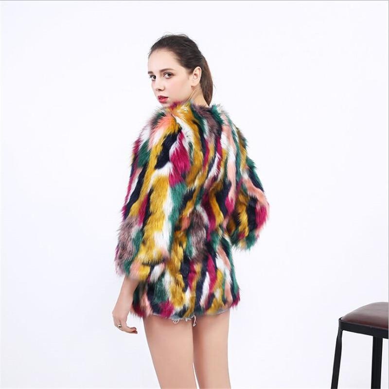 Pour Tricoté Multi De Femmes Nouveau Femme Patchwork Wear Survêtement Manteaux Fourrure En Street Design Cou Coloré 2019 Vestes Multicolore O Faux EqRxvUUY