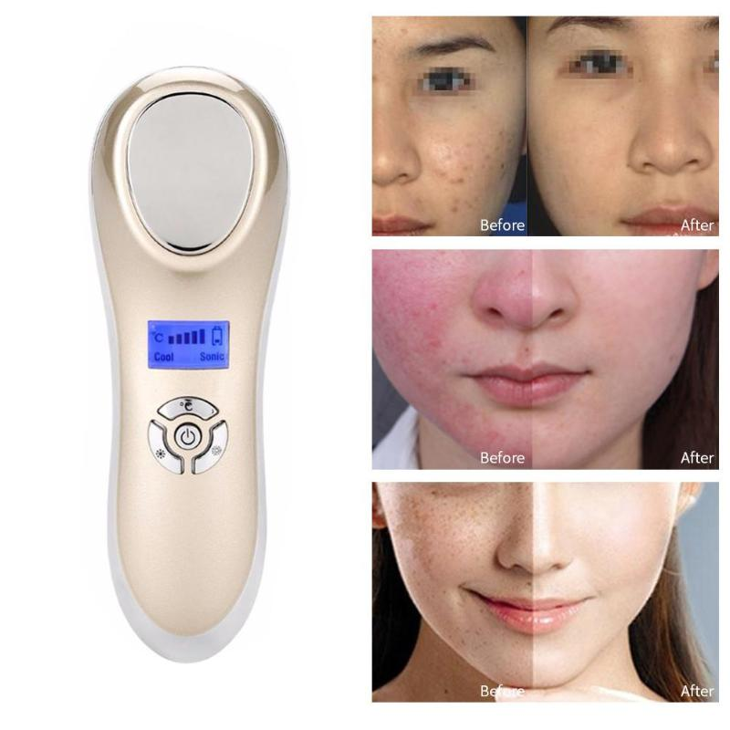 Portable USB Ultrasonic Beauty Machine Therapy Skin Care Pore Contraction Cold Hot Beauty Machine Facial Cleansing Device usb cold hot beauty machine ultrasonic skin care device for pore contraction beauty tools