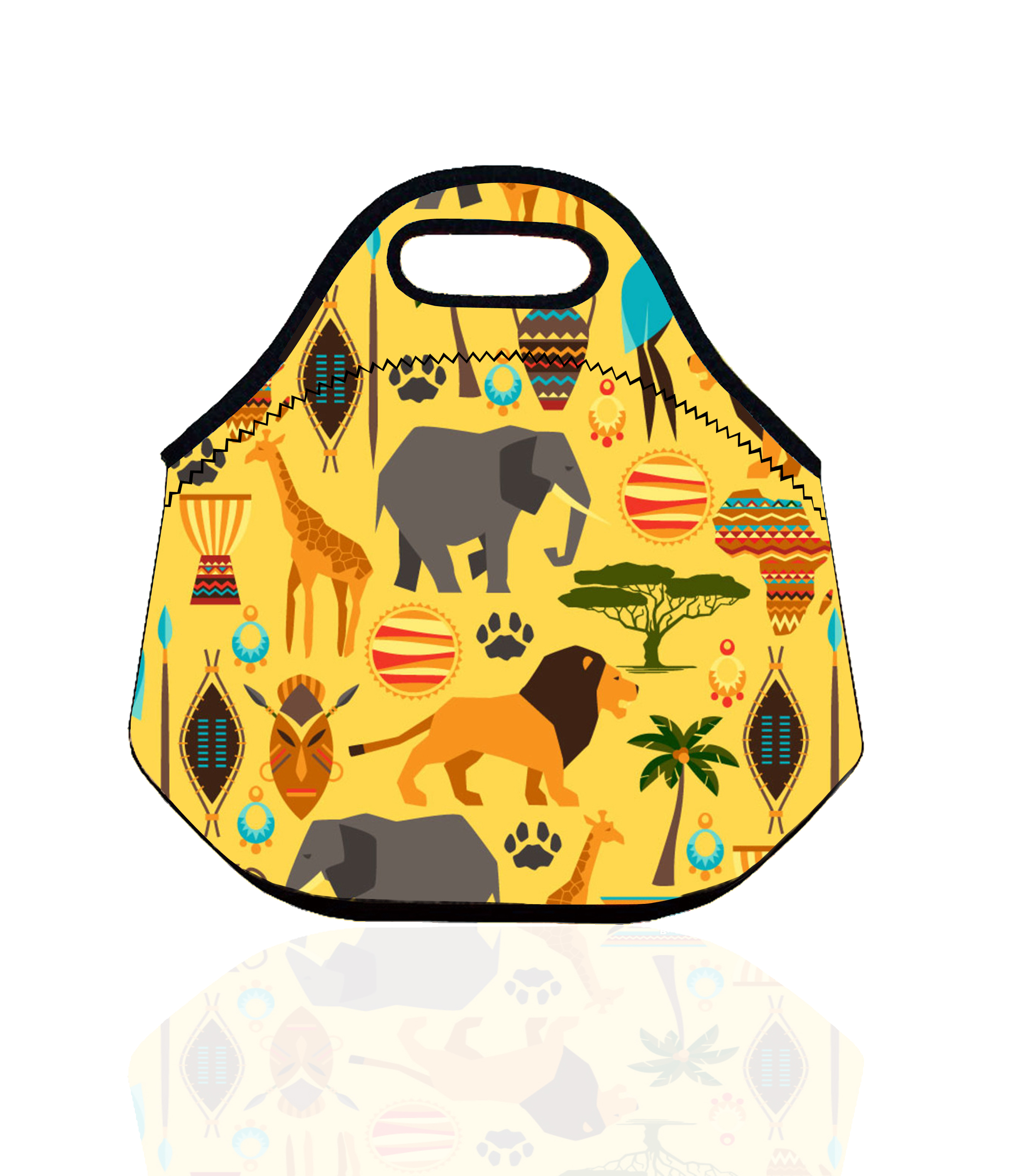 Elephant Lion Giraffe Lunch Bag for Kids Neoprene Thermal Insulated Lunch Box Bag Animal Lunch Cooler Bags Women Snacks Tote