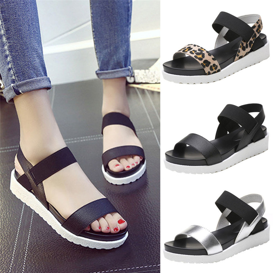 Fashion Sandals Women Aged Leather Flat Sandals Ladies Shoes Platform Sandals Simple Leisure Sandals zapatos mujer chaussures anmairon shallow leisure striped sandals women flats shoes new big size34 43 pu free shipping fashion hot sale platform sandals