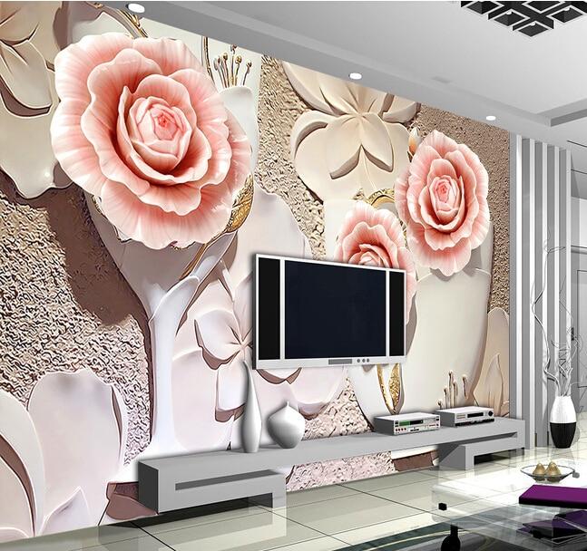 Buy custom papel de parede floral 3 d for 3d rose wallpaper for bedroom