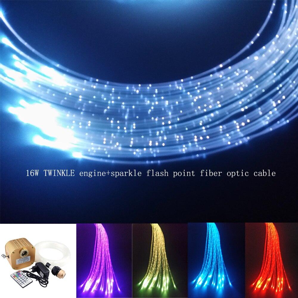 Işıklar ve Aydınlatma'ten Optik Fiber Işıklar'de 16 W Twinkle Sparkle Duyusal Fiber Optik Işık Kiti 300 adet * 0.75mm * 3 M perde  parlama noktası şelale Duyusal ışık dekorasyonu title=