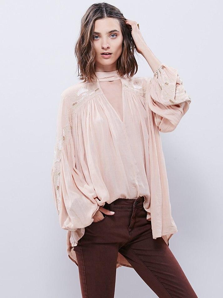 2019 bohème col en V profond femmes broderie t-shirts boho style mode blouses longues lanterne manches automne Blouse hippie chemises