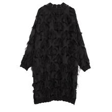 Women Autumn Winter Stand Collar Long Sleeve Perspective Black Loose Tassels Big Size Dress Girls Fashion Tide
