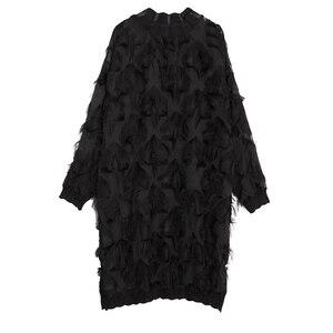 Image 5 - [EAM] 2020 חדש אביב סתיו צווארון עומד ארוך שרוול פרספקטיבת שחור רופף גדילים גדול גודל שמלת נשים אופנה גאות JI780