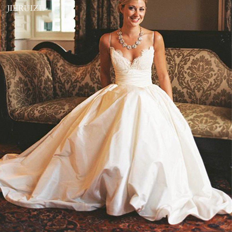JIERUIZE White Taffeta Wedding Dresses Lace Appliques V-neck Spaghetti Straps Cheap Wedding Gowns Bride Dresses Robe De Soiree