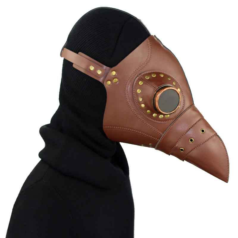 Generous Retro Punk Resin Rivet Brown Pu Leather With Goggles Steampunk Plague Bird Long Beak Mask Cosplay Halloween Mask Costume Props Good For Antipyretic And Throat Soother