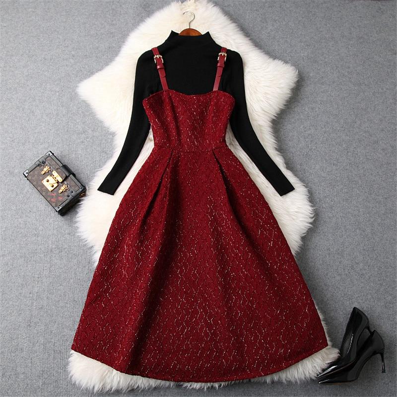Elegant Woman Winter Dress 2018 Fashion Designers Autumn Vestidos Long Sleeve Knitted Top+Midi Bandage Party Dress 2Piece Set