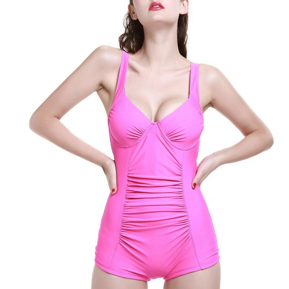 ワンピ-ス熟女 2016無地プラスサイズ女性ワンピース水着プッシュアップvネックワイドストラップシャーリングセクシーな