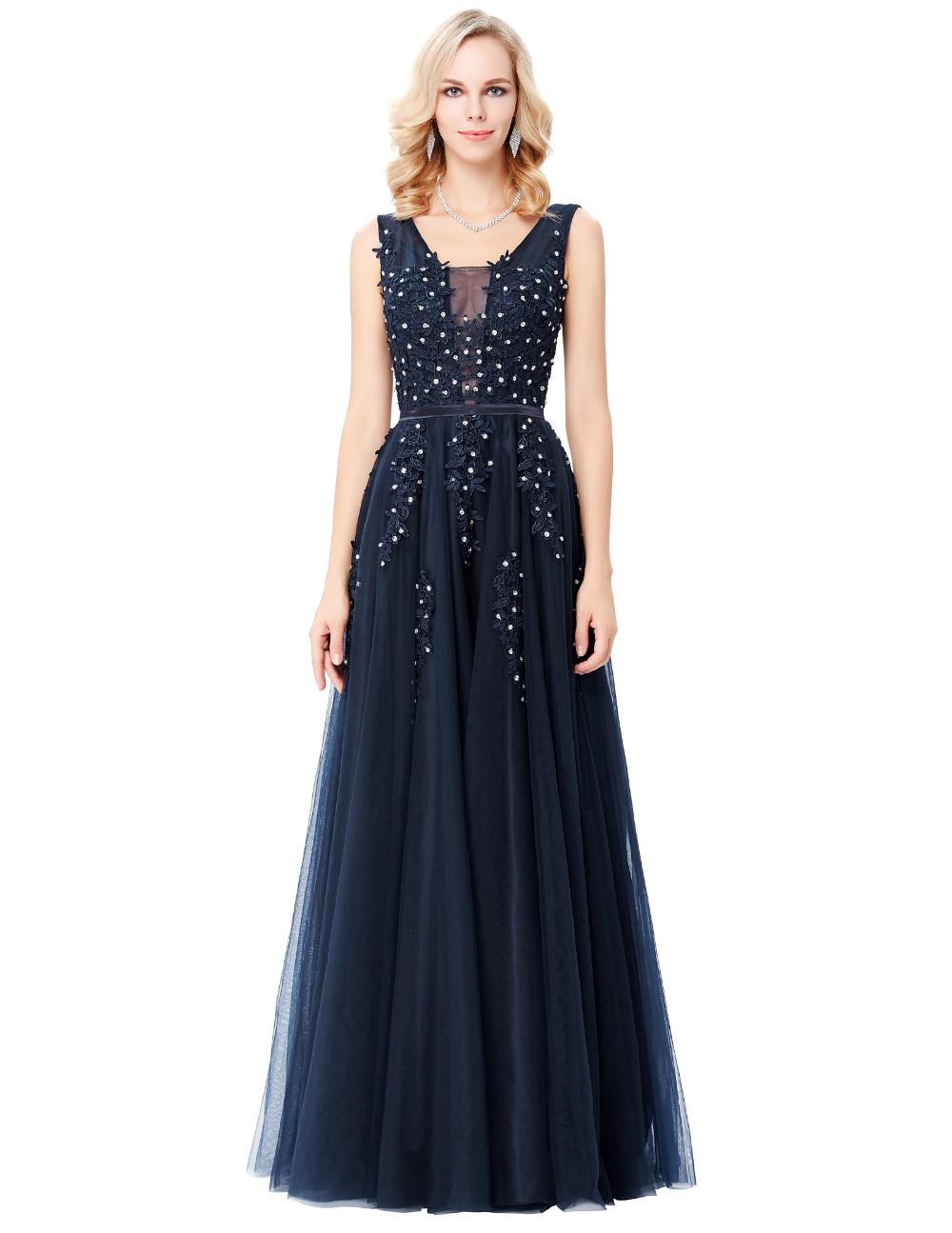 Grace Karin Tulle Appliques Celebrity Prom Dress Sexy V Back Sleeveless Long Royal Blue Robes De Soiree 2017 Longue Prom Dresses 7