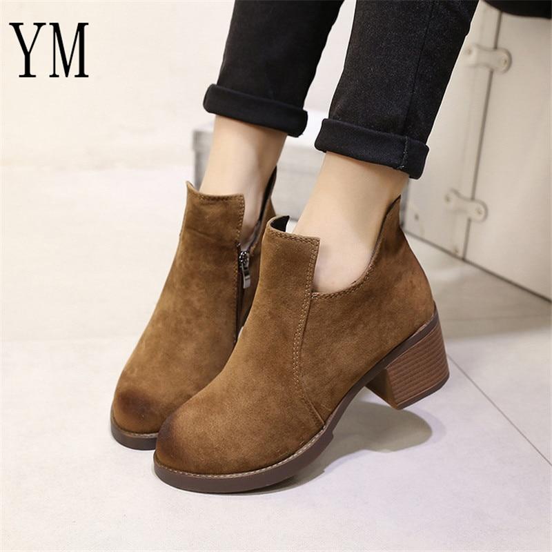 Hot Sale Autumn/Winter Women Boots Thick Heel Leather Female Side Zipper Shoes Vintage Fashion Ankle Boots Women Shoes Bota35-39 2