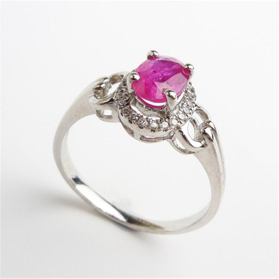 Bagues en cristal translucide de pierre gemme rouge naturelle pour les femmes 925 bague de fiançailles de mariage en argent Sterling taille 8