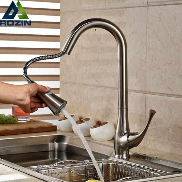 Матовый никель Кухня Раковина смесители Однорычажный выдвижной кухонный кран двойной распылитель функции душевая головка