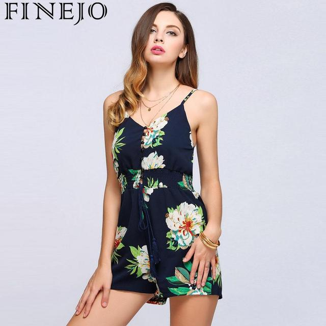 FINEJO Women Rompers Summer 2018 Strap Sleeveless Loose Printed Spaghetti  Lace-Up Blue Printed Casual New Fashion Female Romper fc7080a98d48