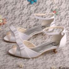 ซาตินสีขาวออกแบบรองเท้าแต่งงานออนไลน์รองเท้าแตะส้นเท้าต่ำจัดส่งฟรี