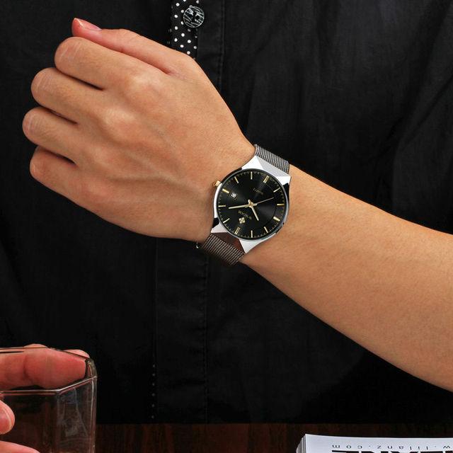 Luxury Brand WWOOR Men's Watches Stainless Steel Band Display Quartz