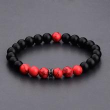 DOUVEI 8 MM czarny matowy i czerwone koraliki yin yang bransoletki dla kobiet Trendy bransoletka mężczyzn z czarny CZ koraliki modlitwa biżuteria AB656