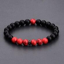 DOUVEI 8 мм черные матовые и красные бусины Yinyang браслеты для женщин модный браслет для мужчин с черными бусинами CZ молитвенные ювелирные изделия AB656
