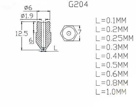 3D printer J-Head Extruder Messing Nozzles 0.2/0.25/0.3/0.35/0.4/0.5/0.6/0.8/1.0mm Voor 1.75/3.0mm Benodigdheden Voor E3D V6 V5