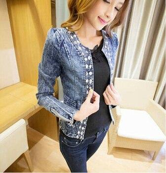 New Women Slim Denim Jackets Outwear Jeans Coat Classical Rhinestone Sequins Retro Jackets Women Coats With Rivets Female Jacket jeans con blazer mujer