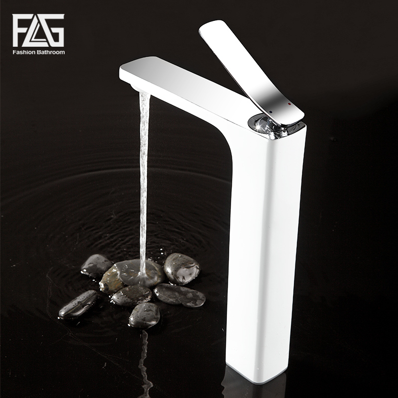 Free Shipping Bathroom Faucet Grilled white paint Chrome Finish Brass Basin Sink Faucet Mixer Tap Single Handle free shipping square wall mounted water tap bathroom sink faucet in chrome finish bf124