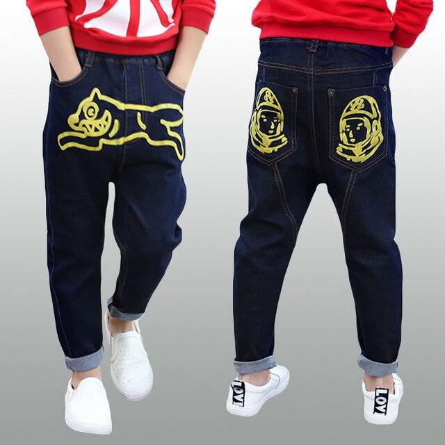 Зимние джинсы для детей 2015 новое теплые брюки середине эластичный пояс коробка брюки тощий зима синие джинсы для детей