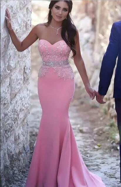 Pink Mermaid evening dress 2017 indian saree alibaba china Sweetheart Beaded Crystals Prom Dresses Sexy Cheap Formal Party Gowns