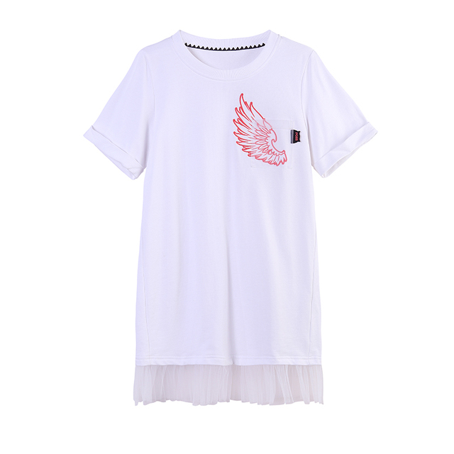 PASS Summer Dress Women Casual A-Line Solid Color O-Neck Collar Short Sleeve Pattern Embroidery Tassel Splice White Dresses