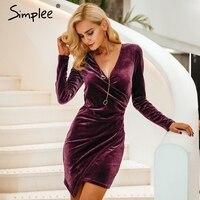 Simplee Velvet Soft Deep V Neck Bodycon Dress Vintage Autumn Winter Sexy Dress Women Long Sleeve