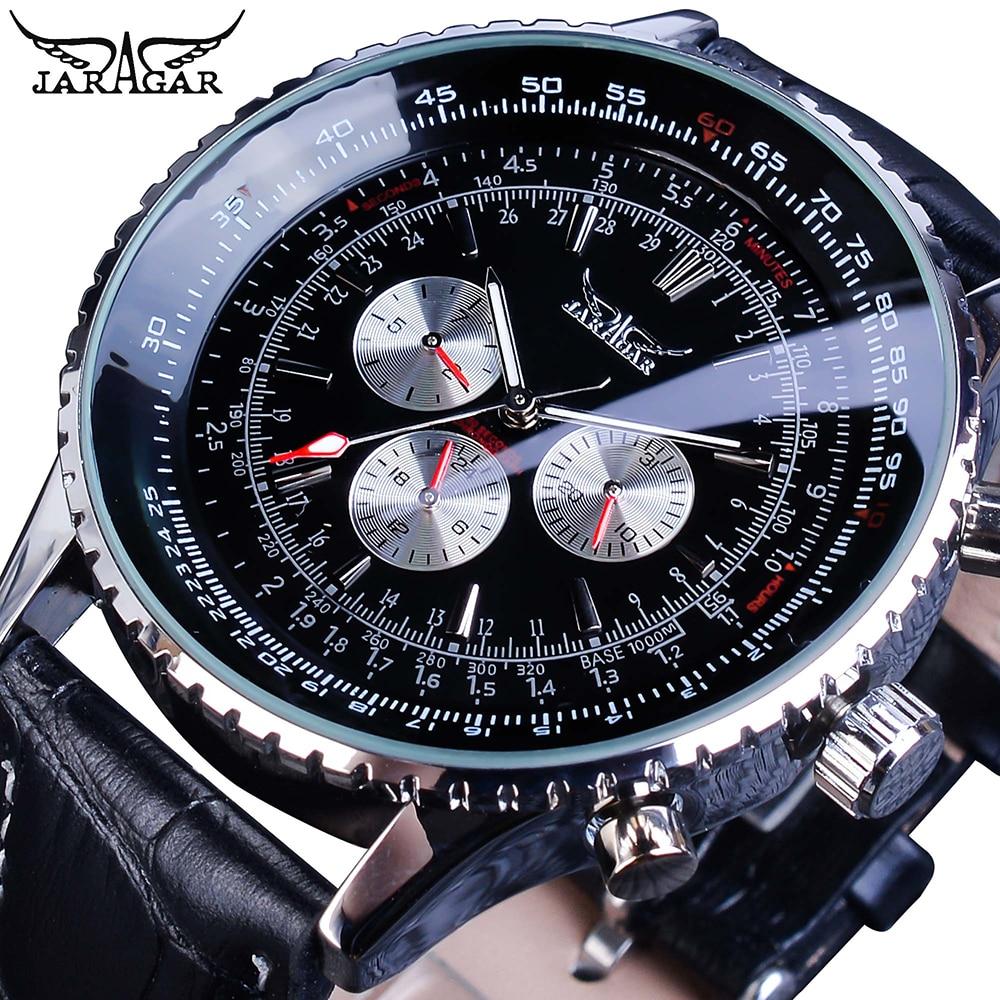 Jaragar 高級メンズ腕時計自動ミリタリーパイロットブラックレザーストラップスポーツ自己風 3 サブダイヤルアナログ機械式時計レロジオ -