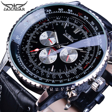 цена на Jaragar Luxury Men Automatic Watch Military Pilot Black Leather Strap Sport Self-Wind 3 Sub Dial Analog Mechanical Clock Relogio