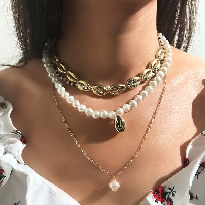 Multilayers Gold Shell Necklaces Women Statement Pearls Choker Necklace