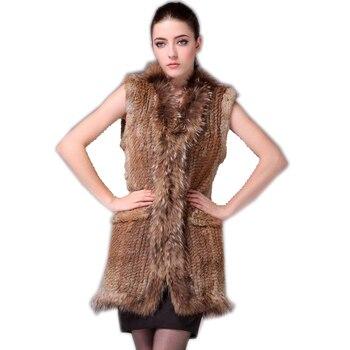 2019 Real rabbit fur vest Women knitted genuine raccoon  fur vest  overcoat pocket garment & raccoon collar without hood