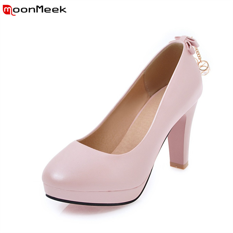 MoonMeek hot summer spring female shoes platform shoes extreme high heels slip on round toe shallow pumps women shoes nayiduyun women casual shoes low top platform wedge high heels boots round toe slip on pumps punk chic shoes black white sneaker