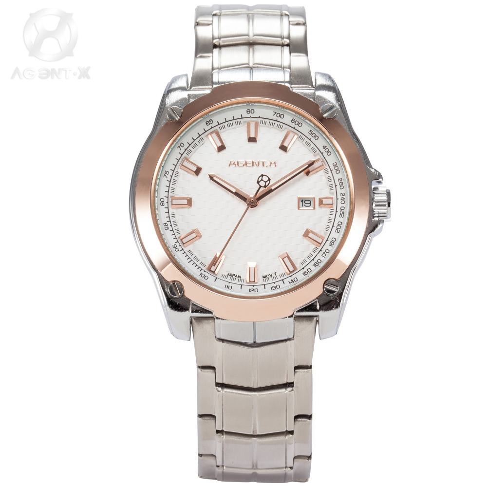 La Vitesse Fatale AGENTX Luxury Montre Marque Feifan Watch Steel Strap Reloje White Dial Rose Gold Analog Quartz Watch / AGX074 la vitesse fatale agentx original casual business analog steel band silver case japan movement quartz mens wrist watch agx094