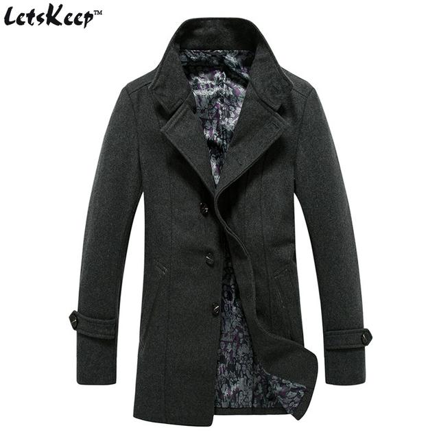Letskeep 2017 classical new homens casaco de lã & blends magro blusão casaco de lã longo casaco de caxemira dos homens quentes dos homens, MA335