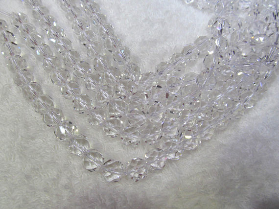 6-12mm 16inch clear white crystal gemstone Rock Crystal Quartz Citrine white Brown Rock Crystal Round Ball Faceted crystal Neckl