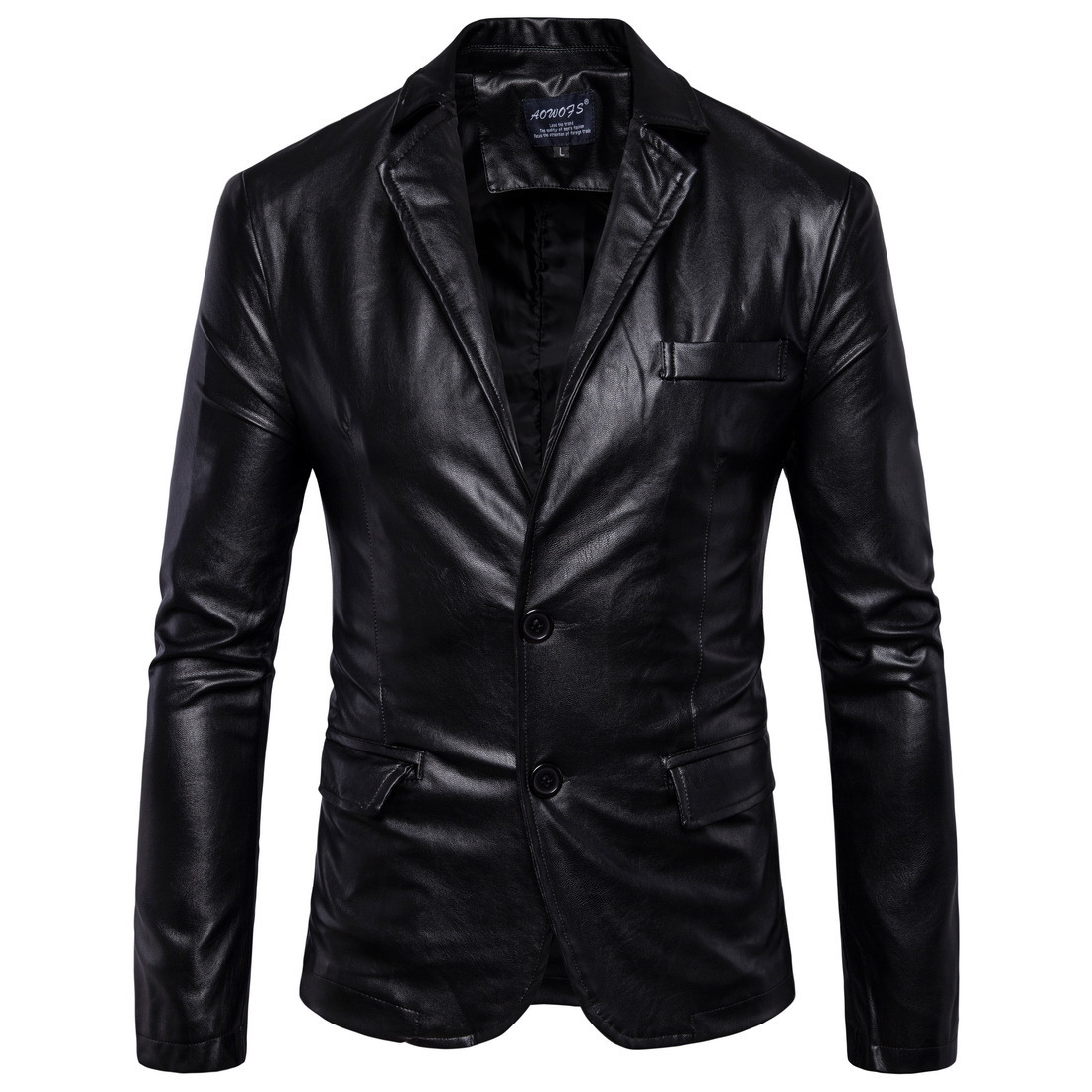New Mens Leather Jackets 2 Button Formal Dress Suits Fashion Man Blazers Black Brown Solid Motorcycle Coat Suede Jacket Male