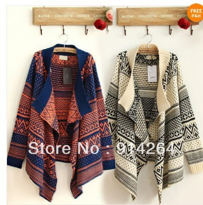 Women Irregular Oversized Loose Geometric Knit Cardigan Jumper Sweater Outwear    free shipping
