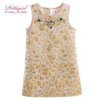 Pettigirl Golden Dress Girl Veil Silk Diamond Summer Dresses Kids Clothes for Girl GD90325-726F