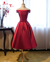Jark Tozr Custom Made Tea Length Short Party Gowns Robe Cocktail 2018 Lace Up Bow Satin