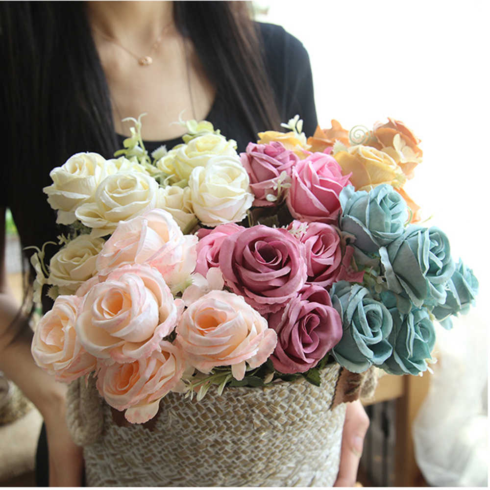 1/5/10 Pcs Artificial Flowers Decor For Home Valentine's Day present White/Pink/Green/Blue Rose Wedding Fake Flowers DIY D40