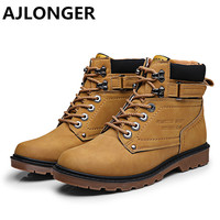 AJLONGER New Arrival Men Boots High Quality Men Ankle Boots Casual Men Autumn No Fur Boots