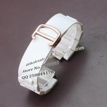 Резиновые завернутый стали ремешок для часов ремни браслеты Белый 20 мм (lug10mm) нержавеющая сталь Раскладывающейся застежкой Rosegold для бренда часы