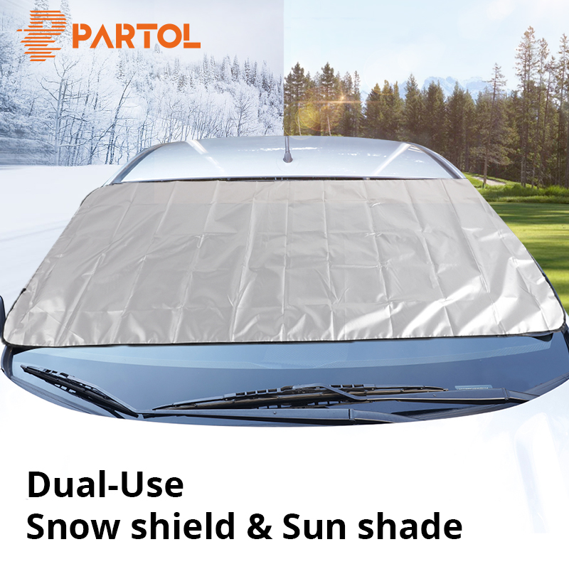 Partol Universal Portable Car Side Window Sunshade Covers Set Automobile Windshield Snow Ice Shield Protective Screen Block SUV image
