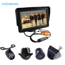 2 Video Input 1000cd/m2 4.3 Inch TFT LCD Car Monitor with Rear View Parking Reverse Backup CMOS CCD Camera for Reversing 4 3 inch lcd car rearview mirror monitor video parking 3in1 video parking assistance sensor backup radar with rear view camera